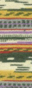 Lana Grossa - Landlust die Sockenwolle - Fb. 403 goldgelb/farngrün/weiß/flieder/grau 100 g