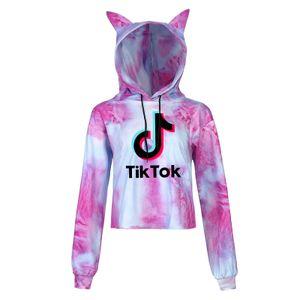 Frauen Tik Tok Tie Dye Crop Hoodie Sweatshirt Langarm Pullover Tops@#S