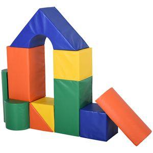 HOMCOM Bausteinset Schaumstoff Bausteine Bauklötze Bauspielzeug für Jungen und Mädchen Schaumstoffblöcke für 1–3 Jahre alt Kinder 11er-Set PolyurethanEPE