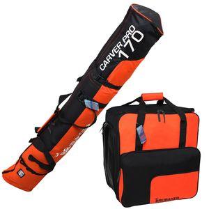 BRUBAKER Kombi Set - Skisack 170 cm und Skischuhtasche für 1 Paar Ski + Stöcke + Schuhe + Helm Schwarz Orange