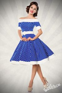Vintage Retro Swing Kleid in blau/weiß Größe L = 40