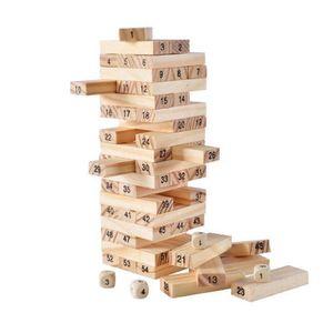 Jenga High Building Block Set, digitale Kinderfarbe Jenga, pädagogisches Holzspielzeug für die frühe Bildung