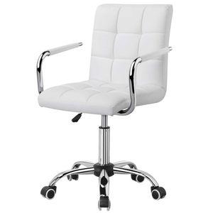 Yaheetech Bürostuhl Kunstleder Schreibtischstuhl Drehstuhl höhenverstellbar Chefsessel mit Laufrollen Bürosessel mit Armlehnen  Weiß