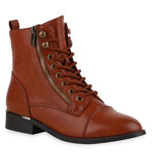 Mytrendshoe Damen Stiefeletten Schnürstiefeletten Schnürer Zipper Schuhe 835932, Farbe: Hellbraun, Größe: 39