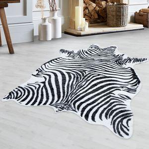 Zebrahaut Teppich Hochwertig KunstKunstleder Waschbar Rutschfest Schwarz Weiß, Grösse:150x200 cm, Farbe:Schwarz