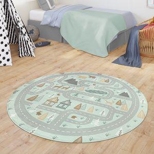 Teppich Kinderzimmer Kinderteppich Babymatte Straßen Motiv Tiere Wald Haus Junge, Farbe:Türkis, Größe:Ø 150 cm Rund
