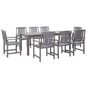 9-teiliges Outdoor-Essgarnitur Garten-Essgruppe Sitzgruppe Tisch + stuhl Grau Massivholz Akazie