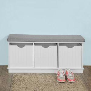 SoBuy® moderne Schuhtruhe,Sitzkommode,Sitzbank, Schuhschrank,weiß, FSR30-W