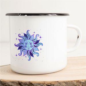 HUURAA! Emaille Tasse Sonne Astrologie Sternzeichen Geschenk Idee 300ml Retro Camping-Becher Vintage Kaffeetasse Kaffee-Becher Sport Name