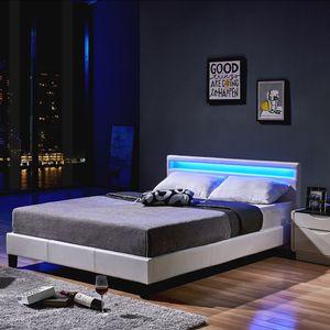 HOME DELUXE - LED Bett ASTRO 140 x 200 Weiß Polsterbett Bett inkl. Lattenrost