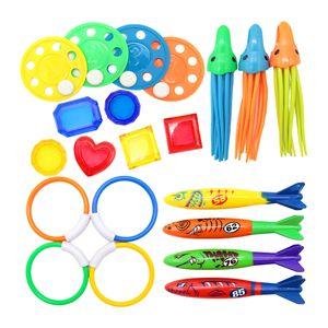 Spaß Wasser Tauchen Spielzeug Pool Spielzeug für Partyspiel Alter 3-11 Jahre Tauchringe Tauchstöcke Pool Fisch sinkendes Spielzeug - 21 Stück Farbe 21 Stück