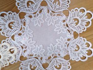 Tischläufer Tischdecke mit Stickerei rund oval 30cm Weiß