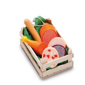 Erzi Sortiment in der Holzsteige Wurstwaren, klein, Spielzeug-Lebensmittel, Kaufladenzubehör