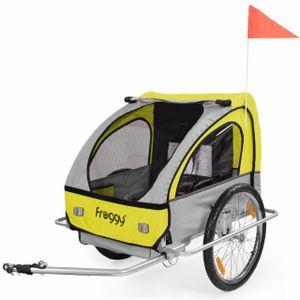 FROGGY Kinder Fahrradanhänger mit Federung + 5-Punkt Sicherheitsgurt Radschutz Anhänger für 1 bis 2 Kinder Design Sunny