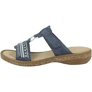 rieker Damen Pantoletten Blau Schuhe, Größe:37
