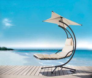 SoBuy OGS39-MI Schwebeliege mit Sonnenschirm Relaxliege Schwingliege Schaukelliege Hängesessel Hängeliege Sonnenliege Belastbarkeit 120kg beige BHT ca: 170x210x115cm