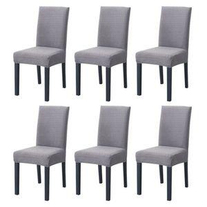 6 Stück Elastizität Stuhlhussen Elasthan Stuhlüberzug für Esszimmer Hotel Bankett,Grau