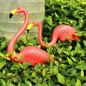 4 Stück Gartenstecker Flamingo Teichdeko Vogel