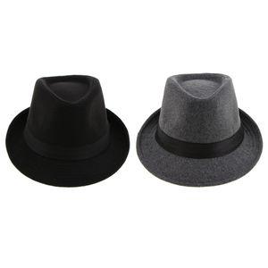 2x Classic Herren Fedora Hut Schmaler Rand Manhattan Gangster Bowler Panama Hut