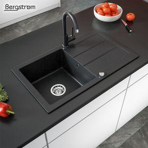 Bergström Spüle Granit Küchenspüle Einbauspüle Spülbecken Küche mit Drehexcenter Schwarz 440x760mm