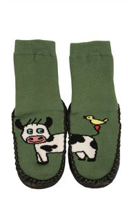 Tobeni 1 Paar Kinder Hüttenschuh Söckchen lustige Tiere mit Ledersohle, Farbe:Kuh, Grösse:20-21