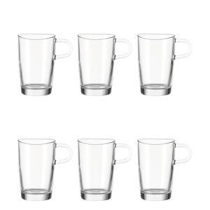 Leonardo Loop Latte Macchiato Becher 6er Set Kaffeetasse Tasse Glas 250 ml