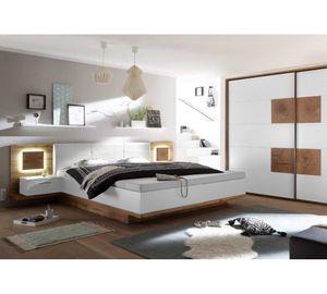 22-229-H2 CAPRI Wildeiche Nb. / weiß Bettanlage Doppelbett Ehebett mit Fussbank / Stauraumbox inkl. Nachtkommoden