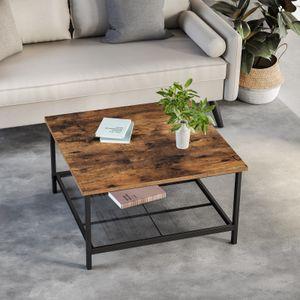 VASAGLE Couchtisch 80 x 80 x 45 cm Kaffeetisch aus Stahl mit Gitterablage quadratisch Industrie-Design vintagebraun-schwarz LCT065B01