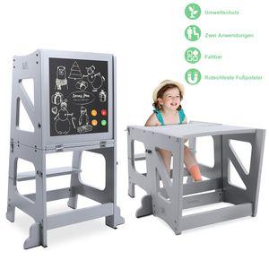 YOLEO 2 in 1 Lernturm Kinder Tritthocker Lernstuhl Kinderhocker Faltbarer Kinderschemel für Baby, mit doppelseitiger magnetischer Tafel, Rutschfestes Fußpolster, Umweltschutz, Küchen-/Badezimmerhelfer, Grau