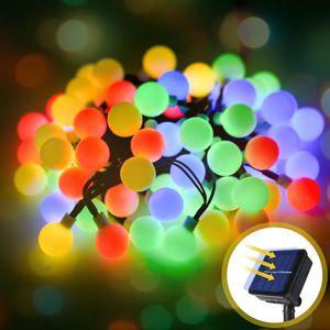 SUNNEST LED Lichterkette Kugeln Mehrfarbige Beleuchtung 8M Solarlicht mit60 LED-Lampen, 8 Beleuchtungsmodi, IP65 Wasserdicht mit 2V 170mA Solarpanel, für Außen- / Innendekoration, Weihnachtsbaum, Party usw.