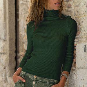 Mode Damen Rollkragenpullover Langarm Baumwolle T-Shirt Casual Tops HCJ91010013 Größe:S,Farbe:Grün
