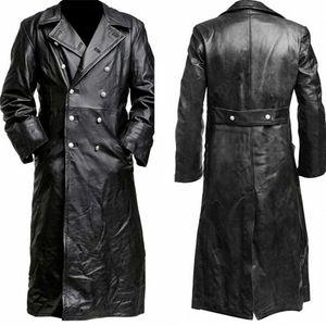 Mittelalterliche Vintage-Lederbekleidung der Männer im reinen langen reinen Leder-Jackenmantel Größe:L,Farbe:Schwarz