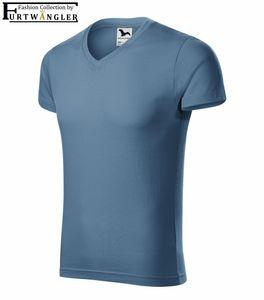 T-Shirt denim blau L Herrenshirt V-Ausschnitt Furtwängler Slim Fit V-Neck 180 g/m²