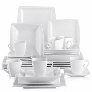 MALACASA, Serie Blance, Kombiservice 30 Tlg. Cremeweiß Geschirrset aus Porzellan Eckig Tafelservice mit 180 ml Kaffeetassen, Untertassen, Dessertteller, Tiefteller und Flachteller