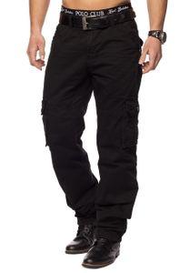 Herren Trekking Arbeitshose Indy Jones Cargo Hose mit Seitentaschen , Farben:Schwarz, Größe Hosen:40W