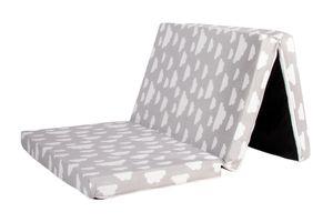 Reisebett-Matratze, Kindermatratze, Bezug 100% Baumwolle,120x60x6cm, Babyblume Wolke grau-weiß