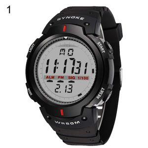 Mode für Männer Outdoor Sport Luminous Week Date Alarm Digital Armbanduhr Schwarz