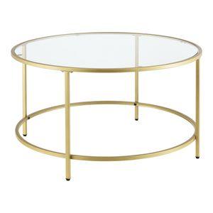 Couchtisch Kouvola Glas-Tischplatte Stahlgestell Glastisch 84 x 45,5 cm Wohnzimmertisch Kaffeetisch Gold