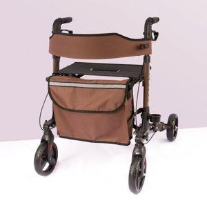 AREBOS Alu Rollator klappbar Leichtgewichtsrollator Laufhilfe Gehhilfe Gehwagen mit Einkaufstasche Braun