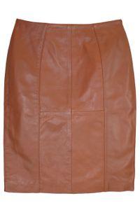 Trendiger Midi Lederrock aus Lammnappa Business Rock echtleder , Größe:36, Farbe:Karamell