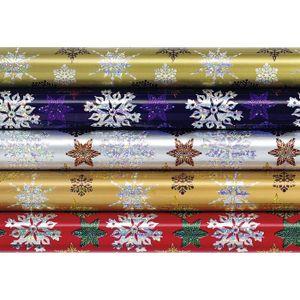 Zöllner Geschenkfolie 'Weihnachten' mit holografischen Motiven, 1,5 x 0,7 m (Modell zufällig, 1 Stück)