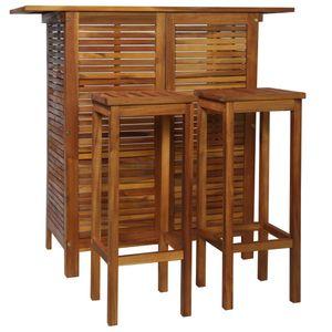 Esstisch mit 2 Stühlen Esszimmer Bartisch und Stuhl-Set 3-tlg. Akazienholz Massiv