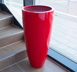Blumenkübel Fiberglas rund konisch D30xH60cm hochglanz rot.