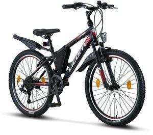 Licorne Bike Guide Premium Mountainbike in 20, 24 und 26 Zoll - Fahrrad für Mädchen, Jungen, Herren und Damen - Shimano 21 Gang-Schaltung, Farbe:Schwarz/Rot/Grau, Zoll:24