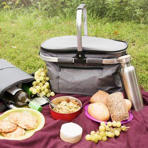 Navaris Thermo Einkaufskorb Kühltasche faltbar - 27L Kühlkorb Picknickkorb Isolier Korb - 43x26cm Einkaufstasche Coolerbag auslaufsicher in Grau