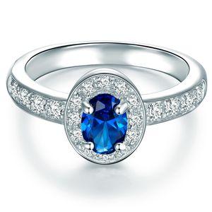 Ring Sterling Silber Zirkonia blau 63