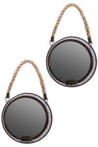 Spiegelwandblaker 2er Set schwarz Metall Wandkerzenhalter Ornament Landhaus
