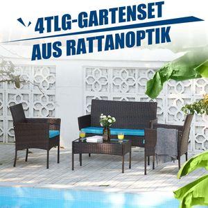4 Stk Gartenset Sitzgruppen Möbel Gartenmöbelmit Bank Stühlen Tisch Loungemöbel