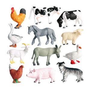 12 Stück Bauernhoftiere Figuren Spielzeugfiguren Set - Schwein Hund Kuh Schaf Pferd Ente Huhn