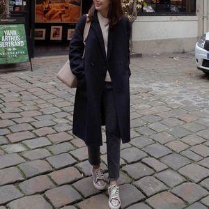 Damen Woll-Mantel Light Coat Trenchcoat Frauen Mantel Outwear Größe: L, Farbe: Schwarz